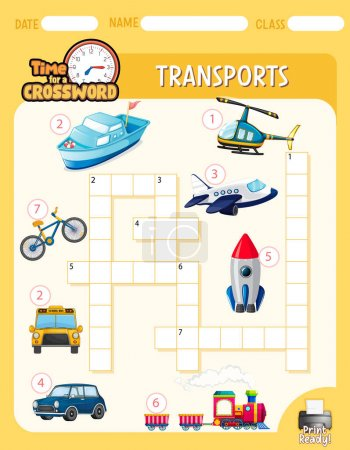 Illustration for Crossword puzzle game template about transportation illustration - Royalty Free Image