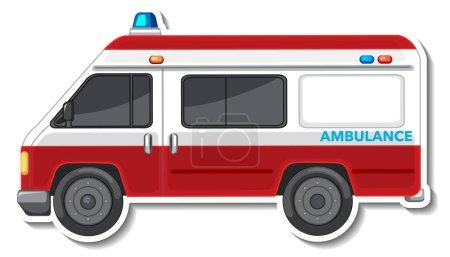 Illustration pour Sticker design avec vue latérale de la voiture d'ambulance illustration isolée - image libre de droit