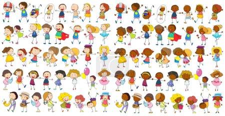 Illustration for Illustration of diverse kids doodle - Royalty Free Image