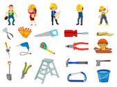 Illustration of workers and	 construction equipments