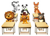 Illustration of many animals in a classroom