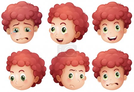 Illustration for Illustration of different expressions of a boy - Royalty Free Image