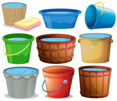 Illustration for Illustration of many buckets - Royalty Free Image