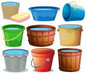 Illustration of many buckets