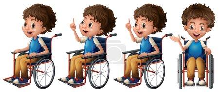 Illustration pour Illustration d'un garçon assis sur un fauteuil roulant - image libre de droit