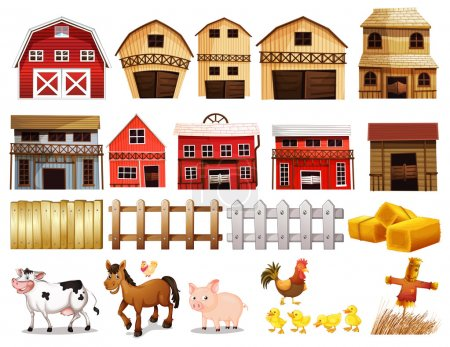 Illustration for Illustration of different pictures of farm - Royalty Free Image