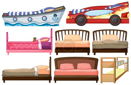 Illustration for Illustration of the different bed designs on a white background - Royalty Free Image