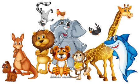 Illustration for Illustration of many animals standing - Royalty Free Image
