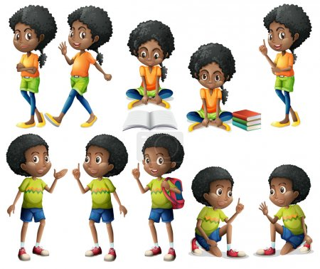 Illustration for Illustration of the African-American kids on a white background - Royalty Free Image