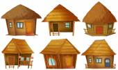 Illustration of different wooden cottages