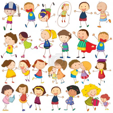 Illustration for Illustration of many children in actions - Royalty Free Image