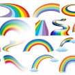 Illustration of a set of different shapes of rainb...