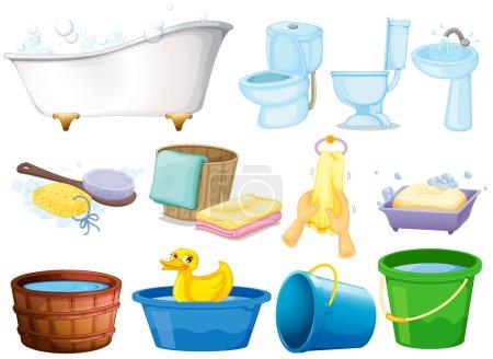 Illustration pour Illustration des équipements de salle de bain - image libre de droit