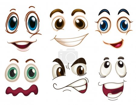 Illustration for Illustration of the different facial expressions on a white background - Royalty Free Image