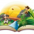 Illustration of a book about two explorers on a wh...