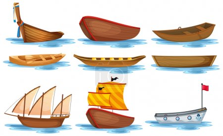 Illustration for Illustration of different kind of boats - Royalty Free Image
