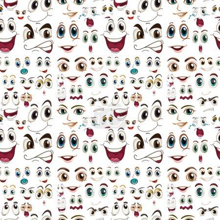 Illustration pour Illustration d'expressions faciales fluides - image libre de droit