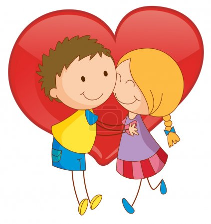 Illustration for Illustration of a boy and a girl hugging - Royalty Free Image