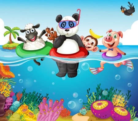 Photo for Illustration of many animals swimming in the ocean - Royalty Free Image