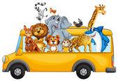 """Постер, картина, фотообои """"животных и автобус"""""""