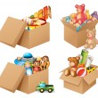 Illustration of four different box of toys...