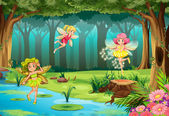 Illustration of fairies flying in the jungle