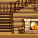 Illustration of a fireplace inside a house...