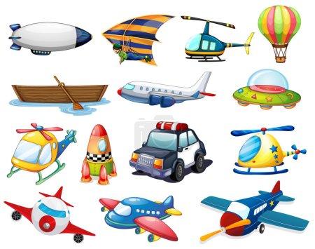 Illustration for Illustration of different kind of transportation - Royalty Free Image