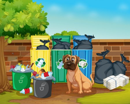 Illustration for Illustration of rubbish and dog - Royalty Free Image