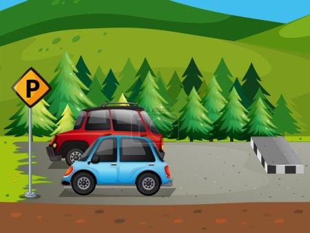 Illustration pour Illustration du stationnement des voitures sur le parking - image libre de droit