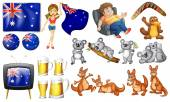 Australian theme set with flags and animals