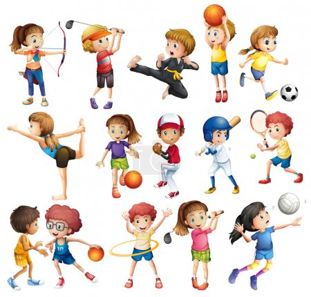 Illustration for Kids playing various sports on white - Royalty Free Image