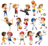 Kids playing various sports on white