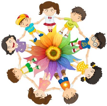 Illustration pour Enfants tenant la main autour de fleurs colorées - image libre de droit