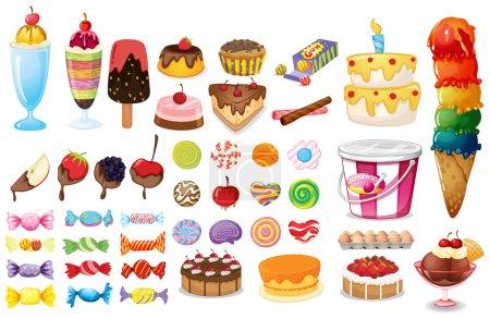 Illustration pour Aliments variés, bonbons et desserts sur fond blanc - image libre de droit