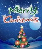 Christmas theme card with tree and text