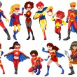A group of heroes of male and female on a white ba...