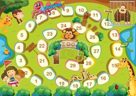 Illustration pour Zoo jeu de société à thème avec des chiffres - image libre de droit