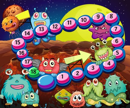 Illustration for Set of game elements and icons with aliens theme - Royalty Free Image