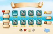 Set of icons and elements of a game with beach theme