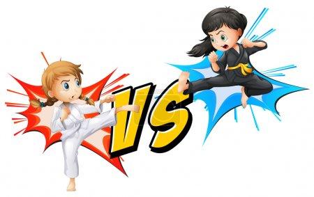 Two girls fighting