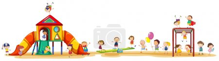 Illustration for Poster showing children enjoying the playset outside - Royalty Free Image
