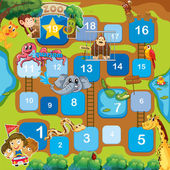 A boardgame with animals numbers and ladders