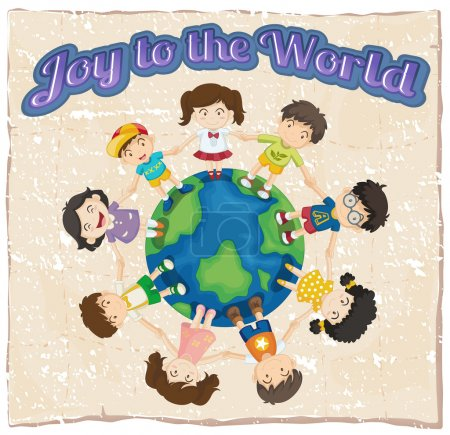 Illustration for A joy to the world template on a white background - Royalty Free Image