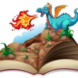 Illustration of a story book and a dragon...