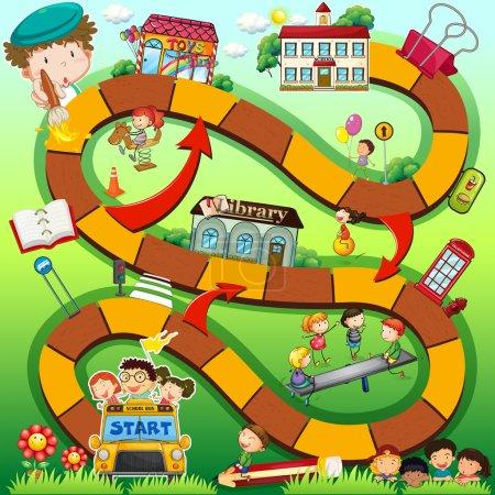 Illustration pour Illustration d'un jeu de société avec fond scolaire - image libre de droit