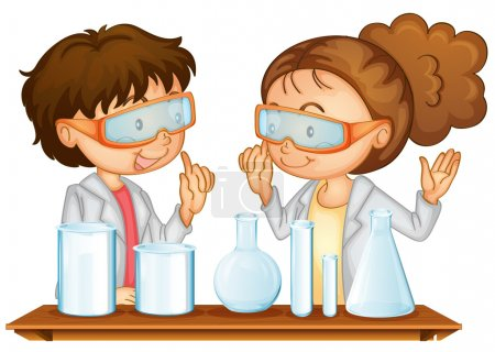 Illustration for Illustration of two students working in a science lab - Royalty Free Image