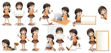 Ilustración de Ilustración de una niña en diferentes poses con una señal. - Imagen libre de derechos