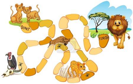 Illustration pour Illustration d'un jeu de société avec des animaux - image libre de droit