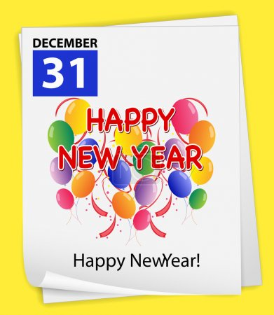 Illustration for Illustration of December 31 is New Year - Royalty Free Image